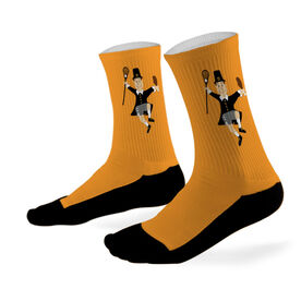Lacrosse Printed Mid Calf Socks Lacrosse Player Pilgrim