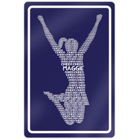 "Cheerleading 18"" X 12"" Aluminum Room Sign Personalized Cheer Words"