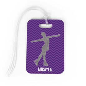 Figure Skating Bag/Luggage Tag - Personalized Faux Glitter Chevron Pattern