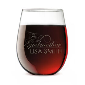 Personalized Stemless Wine Glass - The Godmother