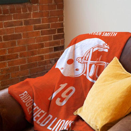 Football Premium Blanket - Personalized Helmet