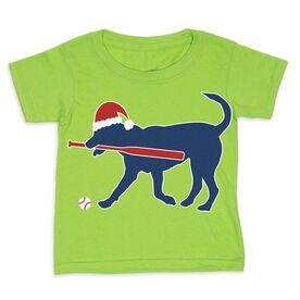 Baseball Toddler Short Sleeve Tee - Play Ball Christmas Dog
