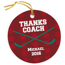 Hockey Porcelain Ornament Thanks Coach With Hockey Crossed Sticks