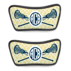 Girls Lacrosse Repwell® Sandal Straps - Personalized Monogram Sticks with Quatrefoil Pattern
