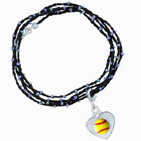 Softball Beaded Wrap Bracelet - Yellow Softball in Silver Heart