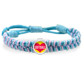 Heart Softball Adjustable Woven SportSNAPS Bracelet