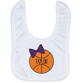 Basketball Baby Bib - Personalized Basketball Bow