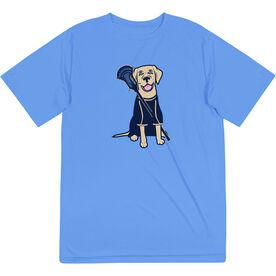 Guys Lacrosse Short Sleeve Performance Tee - Riley The Lacrosse Dog
