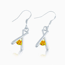 Softball Crossed Bats & Yellow Ball Earrings
