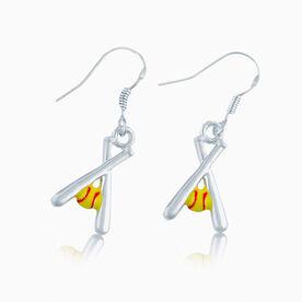 Softball Crossed Bats & Yellow Ball Earrings