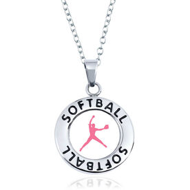 Softball Circle Necklace - Pitcher Silhouette