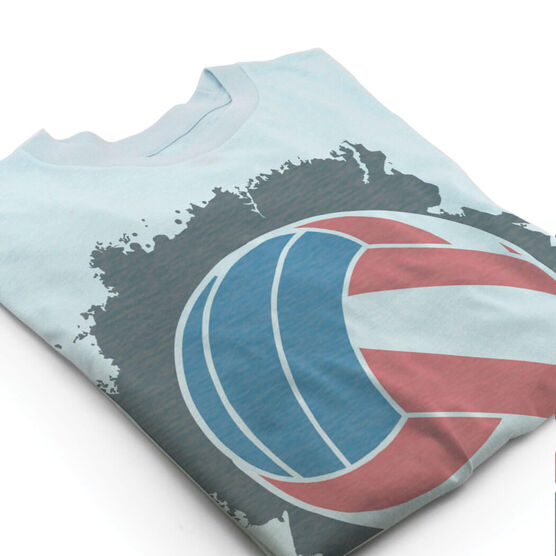 Vintage Volleyball T-Shirt - American Flag Ball