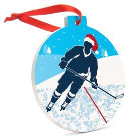 Hockey Round Ceramic Ornament - Player Silhouette