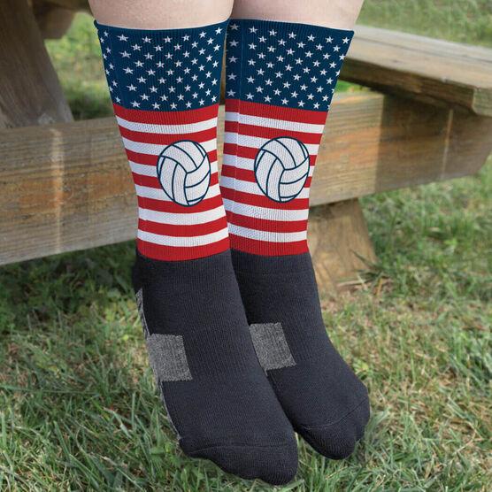 Volleyball Printed Mid-Calf Socks - USA Stars and Stripes