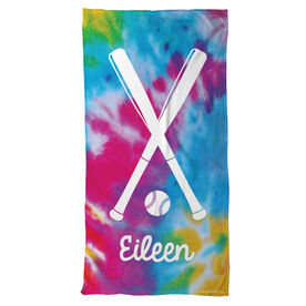 Softball Beach Towel Personalized Tie Dye Pattern with Bats