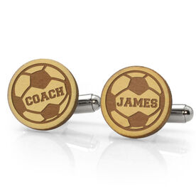 Soccer Engraved Wood Cufflinks Ball with Coach Name