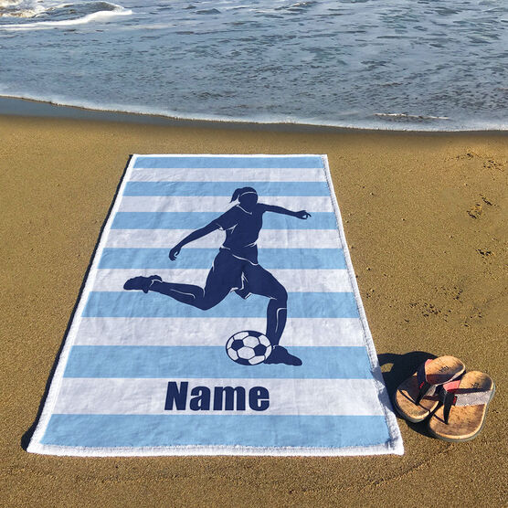 Soccer Premium Beach Towel - Stripes with Player Girl