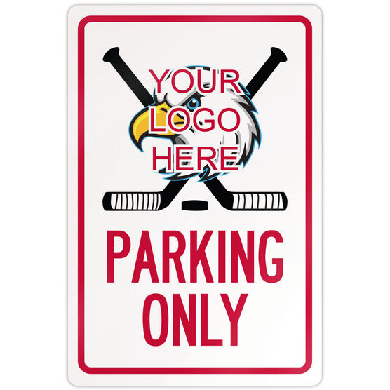"Hockey Aluminum Room Sign Custom Hockey Logo Parking Only (18"" X 12"")"