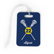 Girls Lacrosse Bag/Luggage Tag - Personalized Crossed Lacrosse Sticks
