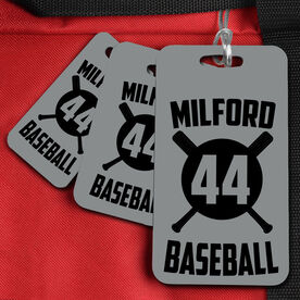 Baseball Bag/Luggage Tag Personalized Crossed Bats and Number