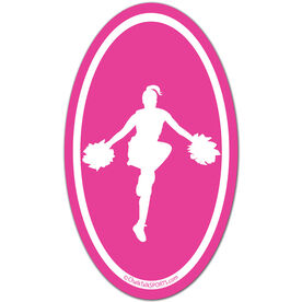 Cheerleading Girl Silhouette Oval Car Magnet (Pink)