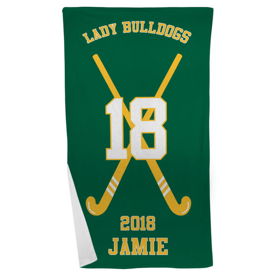 Field Hockey Beach Towel Personalized Team with Crossed Sticks