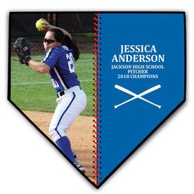 Softball Home Plate Plaque - Player Photo Stitch