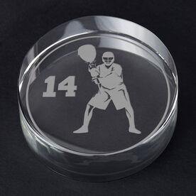 Guys Lacrosse Personalized Engraved Crystal Gift - Personalized Silhouette (Goalie)