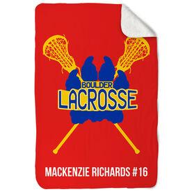 Girls Lacrosse Sherpa Fleece Blanket Custom Lacrosse Team Logo