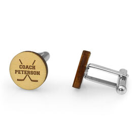 Hockey Engraved Wood Cufflinks Coach Name With Crossed Sticks