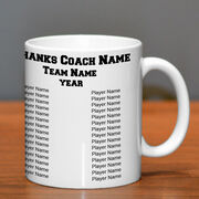 Basketball Coffee Mug Thanks Coach Custom Logo With Team Roster