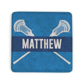 Guys Lacrosse Stone Coaster - Personalized Lacrosse Crossed Guy Sticks
