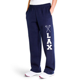 Guys Lacrosse Fleece Sweatpants - Lax With Crossed Sticks