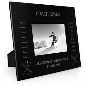 Skiing Engraved Picture Frame - Team Name With Roster (Coach)
