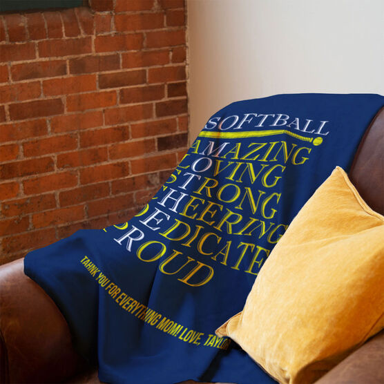Softball Premium Blanket - Mother Words