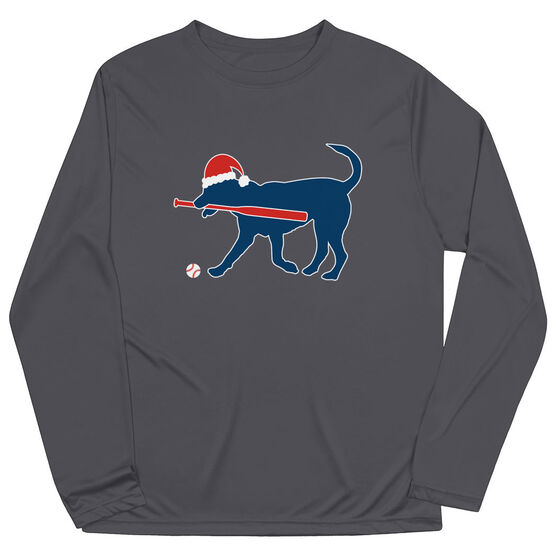 Baseball Long Sleeve Performance Tee - Play Ball Christmas Dog