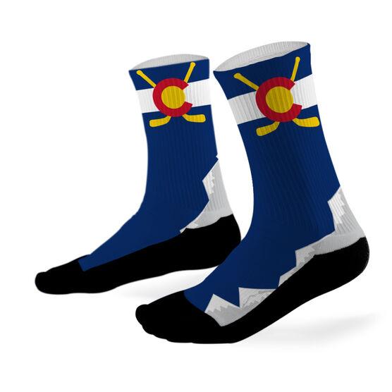 Hockey Printed Mid Calf Socks Colorado