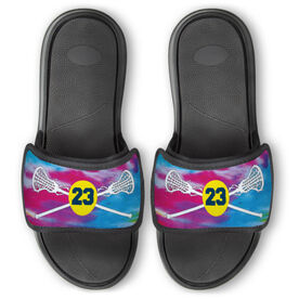 Girls Lacrosse Repwell® Slide Sandals - Personalized Tie-Dye Pattern with Lacrosse Sticks