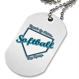 No Plate Like Home Softball Printed Dog Tag Necklace