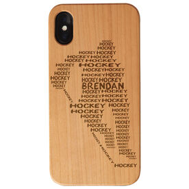Hockey Engraved Wood IPhone® Case - Words