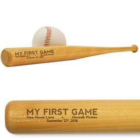 Baseball Mini Engraved Bat My First Game