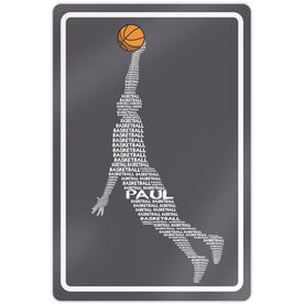 "Basketball Aluminum Room Sign Personalized Basketball Words Guy (18"" X 12"")"