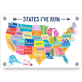 Running Metal Wall Art Panel - States I've Run (Dry Erase)