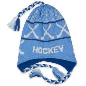 Fleece Lined Knit HOCKEY Hat Light Blue/Navy