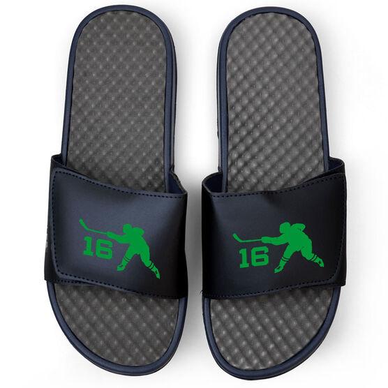 Hockey Navy Slide Sandals - Hockey Slapshot with Number