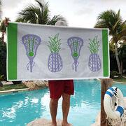 Girls Lacrosse Premium Beach Towel - Lax Pineapple