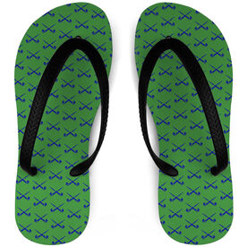 Field Hockey Flip Flops Crossed Sticks Pattern