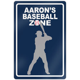 "Baseball Aluminum Room Sign Personalized Baseball Zone (18"" X 12"")"