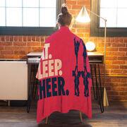 Cheerleading Premium Blanket - Eat. Sleep. Cheer. Horizontal