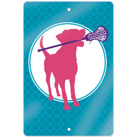 "Girls Lacrosse 18"" X 12"" Aluminum Room Sign Lacrosse Dog with Girl Stick"